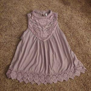 Xhiliration purple lace high neck sleeveless top